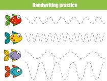Folha da prática da escrita Jogo educacional das crianças, folha imprimível para crianças com linhas onduladas e peixes Foto de Stock Royalty Free