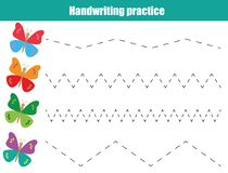 Folha da prática da escrita Jogo educacional das crianças, folha imprimível para crianças Escrita que treina a folha imprimível Imagem de Stock Royalty Free