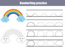Folha da prática da escrita Jogo educacional das crianças, folha imprimível para crianças Escrita que treina a folha imprimível c Imagens de Stock