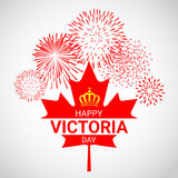 Folha de bordo de Canadá com os fogos-de-artifício para o dia de Victoria Fotos de Stock