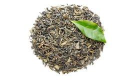 Folha de chá verde isolada no fundo branco imagens de stock royalty free
