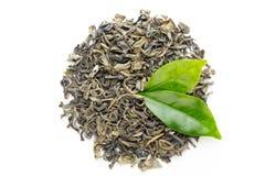 Folha de chá verde isolada no fundo branco imagens de stock