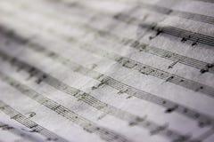 Folha de música enrugada foto de stock
