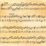Folha de música no papel velho, teste padrão sem emenda Imagens de Stock Royalty Free