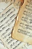 A folha de música velha pagina o fundo Foto de Stock Royalty Free