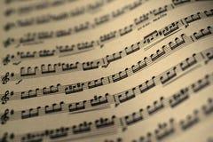 Folha de música, tom da cor do sepia Fotografia de Stock