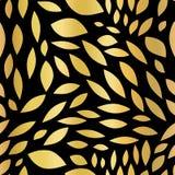 A folha de ouro dá forma a biconvexo no fundo sem emenda preto do sumário do vetor Teste padrão dourado Formas dispersadas corpo  ilustração stock