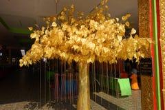Folha de ouro da árvore de Bodhi, plantada em templos tailandeses Foto de Stock Royalty Free
