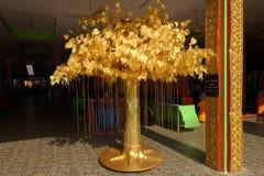 Folha de ouro da árvore de Bodhi, plantada em templos tailandeses Foto de Stock