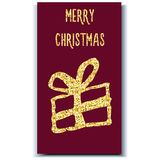Folha de ouro do presente do cartão de Natal Imagem de Stock