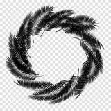 Folha de palmeira preta no fundo branco Ilustração do vetor Fotografia de Stock Royalty Free