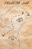 Folha de papel amarelada manchada com parte mão esquemática do mapa tirado do tesouro e de mapa escrito à mão do tesouro do títul Foto de Stock