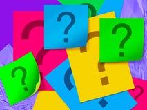 Folha de papel colorida com ponto de interrogação Fotos de Stock Royalty Free
