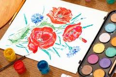 Folha de papel com as flores da papoila do desenho Fotos de Stock