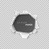 Folha de papel com furo para dentro Página realística do molde do papel de sucata com borda áspera para a bandeira Vetor ilustração stock