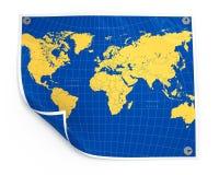 Folha de papel com mapa de mundo Foto de Stock Royalty Free