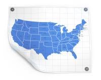 Folha de papel com mapa dos EUA Fotografia de Stock Royalty Free