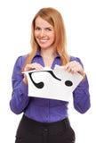Folha de papel de mulher de negócio branca de rasgo imagens de stock
