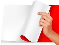 Folha de papel em branco com mão. Vetor Imagem de Stock Royalty Free