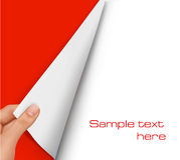 Folha de papel em branco com mão. Vetor do fundo. Fotos de Stock Royalty Free