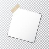 Folha de papel na fita pegajosa com a sombra transparente isolada em um fundo transparente Imagens de Stock