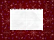 Folha de papel no fundo vermelho com flocos de neve Imagem de Stock