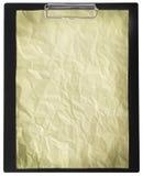 Folha de papel suja vazia na pasta isolada imagens de stock