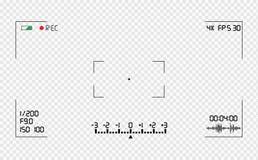 Folha de prova do visor da câmara de vídeo Grade do visor da foto ou da câmara de vídeo com muitos ajustes de tiro na tela ilustração do vetor