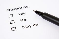 A folha de respostas com no. do Yes e pode ser como a escolha Foto de Stock Royalty Free