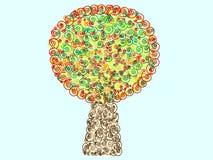 Folha decorativa da espiral colorida do teste padrão da árvore Fotografia de Stock Royalty Free