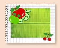 Folha do bloco de notas da fruta da dieta Fotografia de Stock Royalty Free