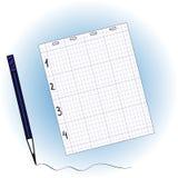 Folha do caderno e do lápis ilustração stock