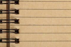 A folha do caderno feita de recicla o papel Imagem de Stock