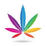 Folha do cannabis em cores do arco-íris ilustração do vetor