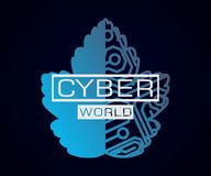 Folha do mundo do Cyber com microchip ilustração do vetor