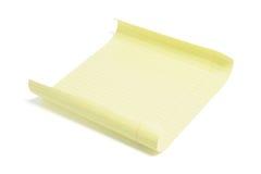 Folha do papel de nota amarelo Fotos de Stock
