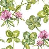 A folha e as flores do trevo entregam a ilustração sem emenda tirada da aquarela do teste padrão Dia feliz dos patricks de Saint Fotografia de Stock