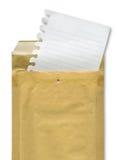 Folha e envelope Fotografia de Stock