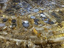 Folha e moedas de ouro na pegada da Buda Imagem de Stock Royalty Free