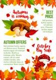 A folha e o cogumelo do cartaz do vetor da venda do outono caem Imagem de Stock