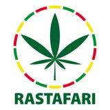 Folha em cores do rastafari, ilustração da marijuana ilustração stock