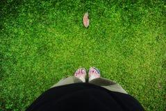Folha, grama e pés Fotografia de Stock