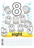Folha imprimível colorindo para o jardim de infância e o pré-escolar Nós treinamos para escrever números Exercícios da matemática Foto de Stock Royalty Free
