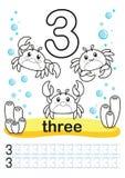 Folha imprimível colorindo para o jardim de infância e o pré-escolar Nós treinamos para escrever números Exercícios da matemática Fotos de Stock Royalty Free
