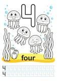 Folha imprimível colorindo para o jardim de infância e o pré-escolar Nós treinamos para escrever números Exercícios da matemática Foto de Stock