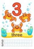 Folha imprimível para o jardim de infância e o pré-escolar Nós treinamos para escrever números Exercícios de Mathe Figuras brilha Fotografia de Stock