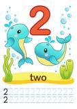 Folha imprimível para o jardim de infância e o pré-escolar Nós treinamos para escrever números Exercícios de Mathe Figuras brilha Imagens de Stock
