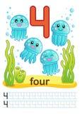 Folha imprimível para o jardim de infância e o pré-escolar Nós treinamos para escrever números Exercícios de Mathe Figuras brilha Imagem de Stock
