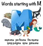 Folha inglesa para as palavras que começam com M ilustração royalty free
