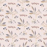 Folha natural cor-de-rosa Berry Branch Vetora Pattern, ilustração stock